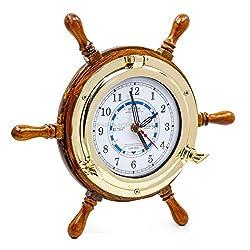 14 Authentic Nautical Time Tide Clock Porthole Ship Wheel   Navy Pirate's Gift & Decor   Nagina
