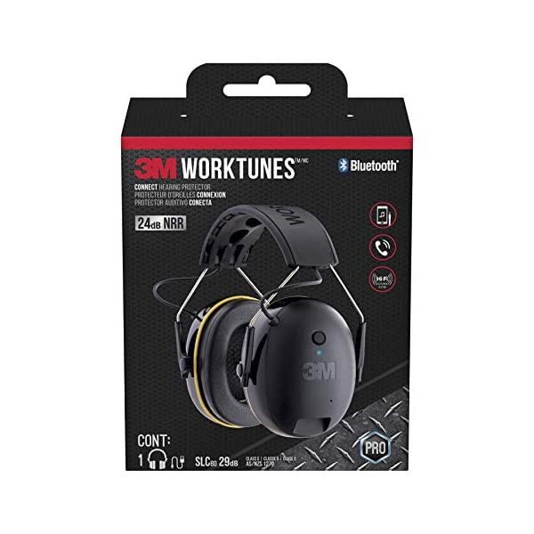3M WorkTunes Connect Hearing Protector with Bluetooth Technology, 24 dB NRR, Ear...