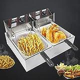 Friggitrice elettrica in acciaio inox di alta qualità, 5000 W, per friggitrice a zone fredde, 12 l, con cestello e coperchio (per patatine fritte, pollo fritte. Uso commerciale).