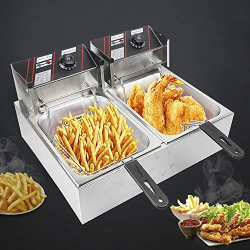 5000W Qualität Edelstahl Doppel fritteuse Fritöse Kaltzonen 12L Catering Elektro-Fritteuse mit Korb und Deckel (fur Pommes frites,Gebratenes Huhn.geschäftliche Nutzung)