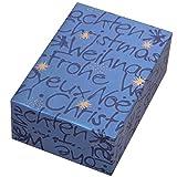 Geschenkpapier Weihnachten 3 Rollen, Motiv Wünsche weihnachtliches Schrift-Design in Perlglanz blau Optik mit goldenen Sternen. Für Weihnachten. Edel und hochwertig. Weihnachtsgeschenkpapier.
