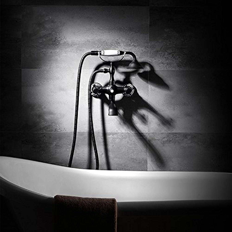 GFEI European style black shower, full copper   antique copper hand shower head set   bath, shower faucet