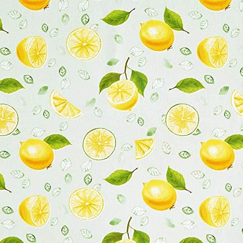 Dekostoff Baumwollköper Zitronen – hellgrün/gelb — Meterware ab 0,5m — STANDARD 100 by OEKO-TEX® Produktklasse I — zum Nähen von Homeaccessoires, Kissen/Tagesdecken & Stuhlauflagen