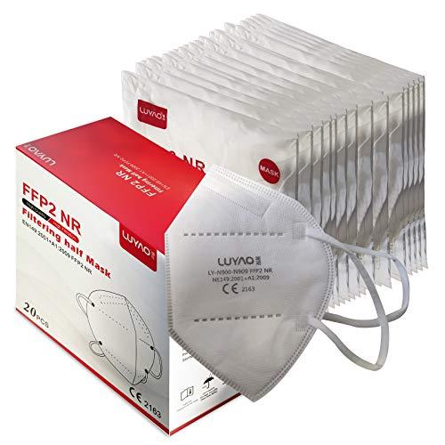 RELAXXX Mascherina Ffp2 filtri 95% Mascherine Ffp2 Certificate CE 5 Strati Passanti Orecchie Confezione da 20 PC