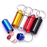 Oyfel. 6pcs pilulier étanche Aluminium de Porte-clés colorés boîte à pilles Porte-clés...