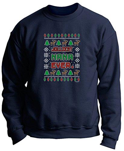 Christmas Photo Booth Props Shirt for Nana Jolliest Nana Ever Premium Crewneck Sweatshirt 2XL Navy