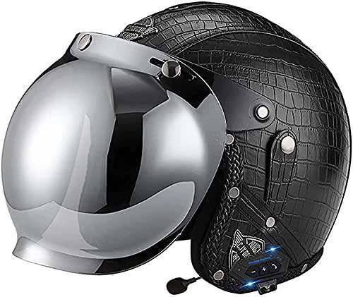 OOMEI Bluetooth Integrado Casco Medio Abierto,Casco De Moto con Visera, Casco Moto Jet Cubierto Casco De Seguridad,ECE Homologado, Casco De Motocicleta para Hombres Y Mujeres (Color : B, Size : XL)