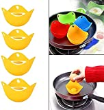 4 PCS Silicone Egg Poacher, Egg-Boiler Cup Suitable for Microwave or Stove Cooking Eggs, Pods Egg Mold Bowl Rings Cooker Boiler Baking Cup Kitchen Cooking Cookware Tools (Yellow)