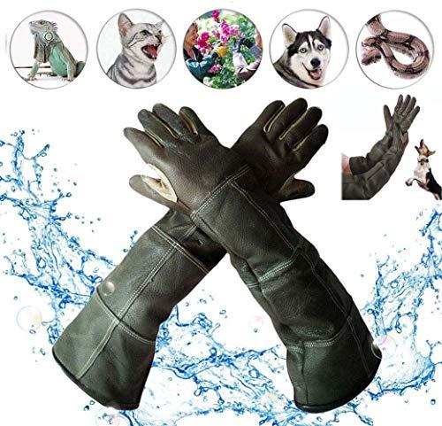 Waterdichte handschoenen voor het hanteren van dieren, lederen anti-kras/bijt beschermende handschoenen met lange mouwen, baden voor huisdieren, voeren, trainingshandschoenen