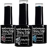 Set de Esmaltes de Uñas Semipermanentes para lámpara UV LED - 3 Colores Glitter para uñas de gel - Nail Polish Manicura y Pedicura - Gama Shiny Star Meanail Paris