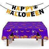 Aurasky Decoración de Fiesta de Halloween Mantel, Pancarta de Halloween, Set de Decoración de Halloween, Mantel murciélago de Halloween,Halloween Decoracion Mesa para Casa, Mesa y Jardín, Púrpura