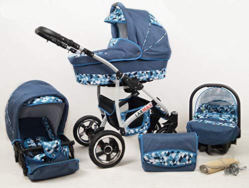 True Love Larmax kinderwagen complete set (autostoel & adapter, regenbescherming, muggennet, zwenwielen) Jeans blauw