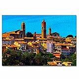 Italia Montalcino Siena Toscana Rompecabezas para Adultos, 300 Piezas, Rompecabezas de Madera para niños, Regalo de Viaje, Recuerdo, 16.5 × 12 Pulgadas