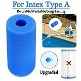 Filtre de piscine pour piscine Intex de type A réutilisable/lavable avec cartouche en mousse pour filtre de piscine Intex Cartouche filtrante/Cartouche de Remplacement en Mousse filtrante (Bleu)