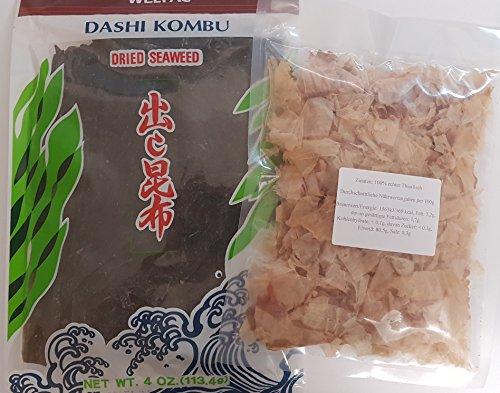 Dashi Kombu Zutaten Dried Kelp, Konbu Braunalge, Katsuobushi 100% Bonito Flocken, Aka-Miso Misopaste Dunkel, Shiro- Miso Helle Misopaste Grundzutaten Dashi-Brühe, Misosuppe