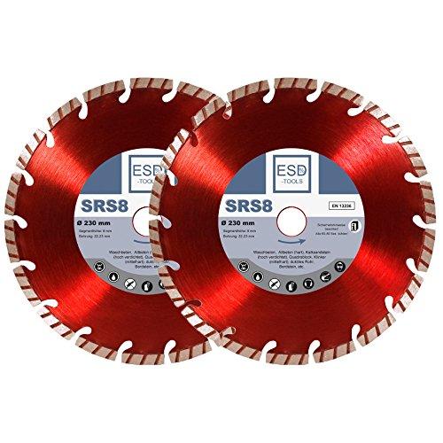 2x Diamanttrennscheibe Beton Turbo SRS8 - Ø 230 / Diamant-Scheibe mit 22,23 mm Bohrung Trennscheibe geeignet für Beton, Bordstein, Dachziegel und Verbundstein