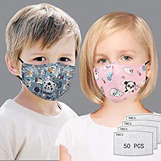 2 PCS Kids' Ma*s//k Baby Reusable Dustproof P.M.0.2.5 Pollution C0ver with 50 PCS Pr0tective F!lter Activated Carbon 5 Layers Replaceable