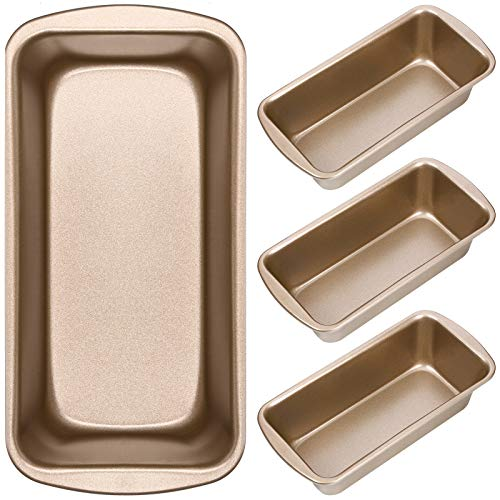 Non-Stick Loaf Pan Set, 4 Pieces Toast Baking Mold, Rectangle Baking Tray for Oven Baking (7.2 x 3.7 Inches)