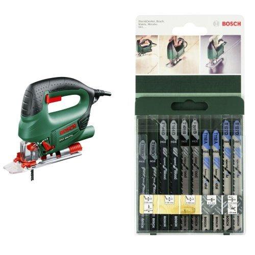 Bosch PST 800 PEL - Sierra de calar de carrera pendular + 2 609 256 746 - Juego de hojas de sierra de calar de 10 piezas vástago en T