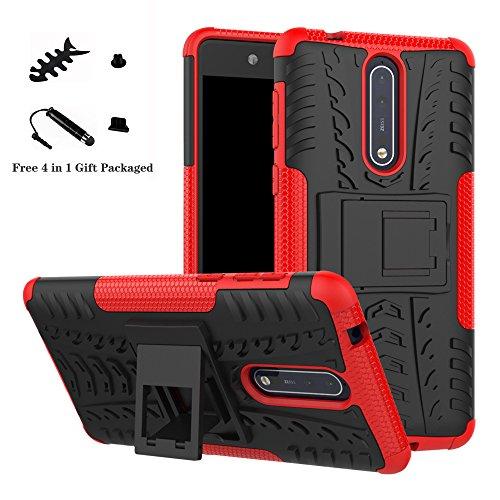 LiuShan Nokia 8 Custodia, Protettiva Shockproof Rigida Dual Layer Resistente agli Urti con cavalletto Caso per Nokia 8 Smartphone(con 4in1 Regalo impacchettato),Rosso