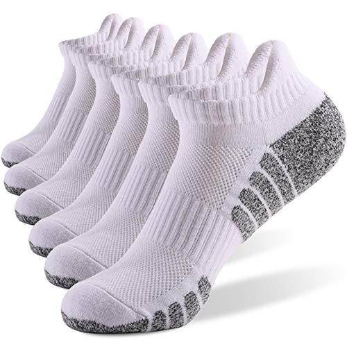 6 Pares Calcetines Running Para Hombre Mujer - Deporte Calcetines Cortos de Algodón Con Amortiguación Respirable Running Ciclismo (6 Pares Blanco, EU 39-42)