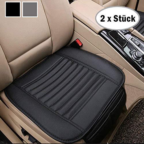 Big Ant Sitzauflagen Auto Sitzbezüge Auto Sitzkissen Auto Vordersitz Sitzauflagen Kissen aus Hochwertiges PU Leder x 2 Stück, Schwarz