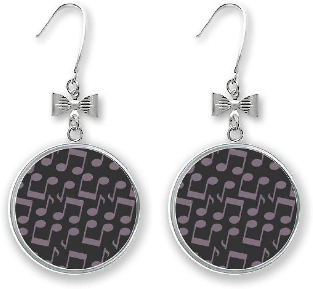 Dark Purple Music Max 51% OFF Notes Black Bow Stud Drop Pierced Earrings Hoo Dealing full price reduction