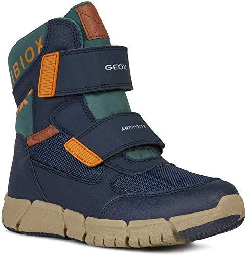 Geox Jungen High-Top Sneaker FLEXYPER Boy ABX, Kinder Sneaker,Sportschuh,Sneaker-Stiefelette,mid-Cut,atmungsaktiv,Navy/ORANGE,34 EU / 1.5 UK