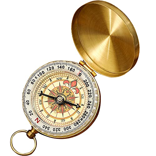 iitrust Compass for Navigation, Vintage Pocket Compass with Luminous Function, Waterproof Military Compass for Camping, Orienteering, Hiking, Marching and Collection