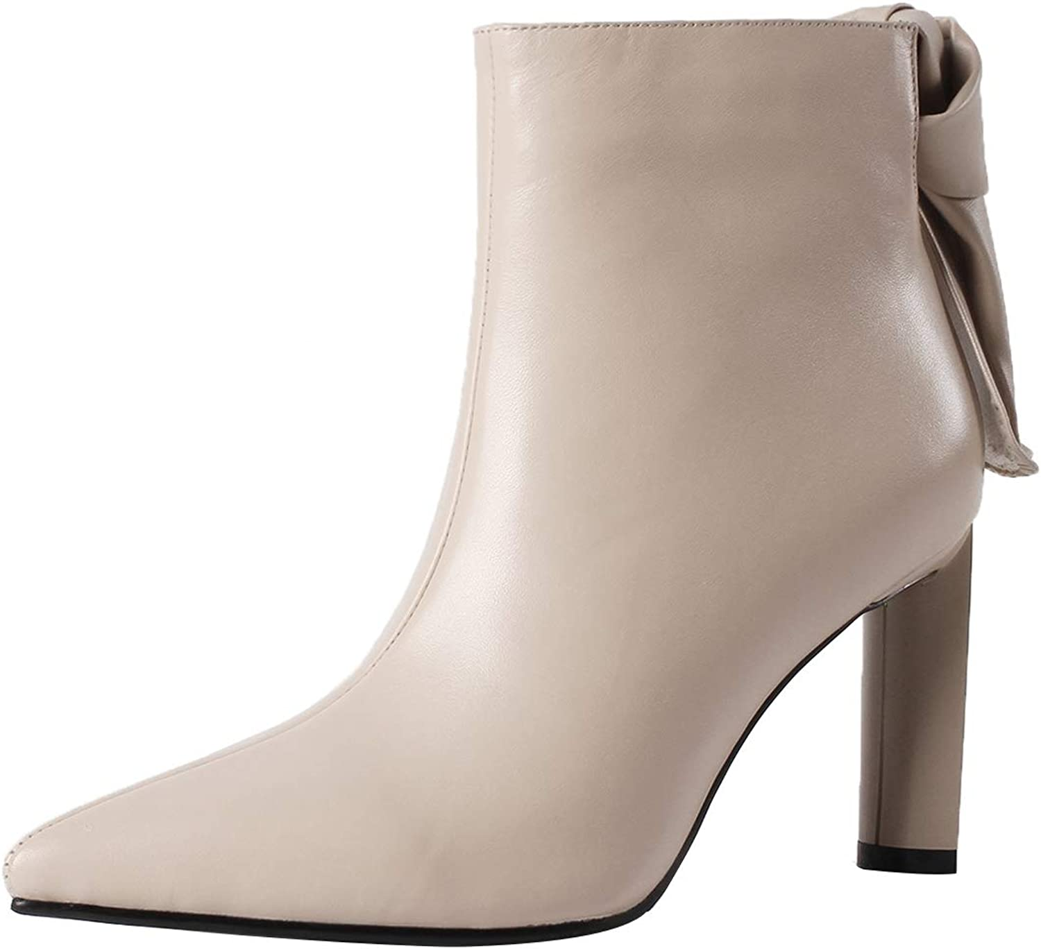 Eithy Women's Shage Stiletto Ankle-high Zipper Leather Boots