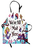 Ambesonne Alice in Wonderland Apron, We are All Mad Here Words with Caterpillar White Rabbit Cheshire Cat, Unisex Kitchen Bib with Adjustable Neck for Cooking Gardening, Adult Size, Purple Blue
