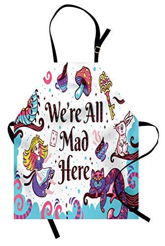ABAKUHAUS Alice nel Paese delle Meraviglie Grembiule, Alice nel Paese delle Meraviglie, Comodo per la Cucina Unisex con Collo Regolabile per Cucinare Cuocere Arrostire e Giardinaggio, Multicolore