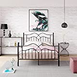 Strong Metal Bed Frame 4ft 6 Double Size Solid Bedstead Base with High Headboard (Black)