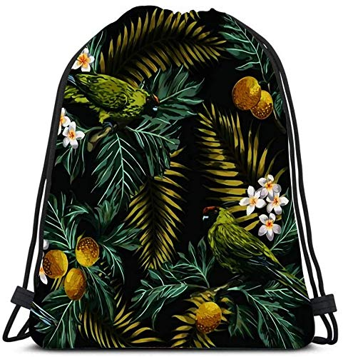 Drawstring Bags, Exotic Tropical With Leaves Fruits Flowers And Birds Breadfruit Palm Plumeria Parro Travel Gym Bags Rucksack Shoulder Bags Sports Backpack