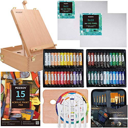 MEEDEN Complete Acrylic Painting Set with Solid Beech Wood Easel Box, 48 Colors Acrylic Paint Set and All Additional Painting Supplies, Artist Painting Art Kit for Beginning Artists, Students & Kids