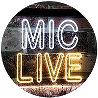 Mic Live On Air Studio Dual Color LED看板 ネオンプレート サイン 標識 白色 + 黄色 600 x 400mm st6s64-i3090-wy