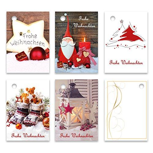 25er Pack Geschenkanhänger Frohe Weihnachten ca. 52 x 74 mm verschiedene Motive, Anhänger, Weihnachtsanhänger, Geschenkkarte, Geschenkkärtchen, Anhängeetikett, Topper