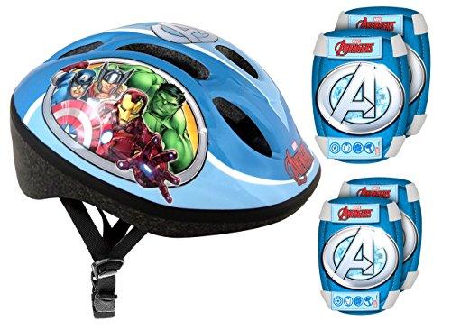 Stamp- Marvel Set DE Protection Comprenant Casque + GENOUILLERES et COUDIERES vélo-Avengers, AV299507, Bleu (52-56)