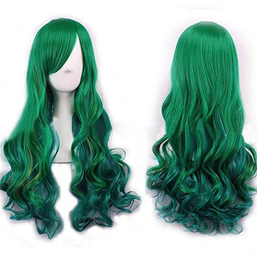 Tenflyer Frauen arbeiten Dame langes lockiges Wavy Haar-Partei Cosplay volle Perücke Grün