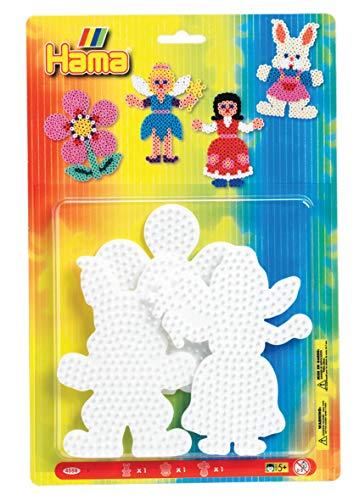 Hama Perlen 4558 Stiftplatten 3er Set für Midi Bügelperlen mit Durchmesser 5 mm, Motive Hase, Blume und Fee in weiß, kreativer Bastelspaß für Groß und Klein