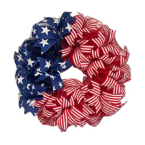 A \ N July 4th Patriotic American Wreath Decoration, Front Door Handmade Hanging Garland for National Flag Day Veterans Day Garden Home Decoration