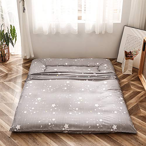 Grey Constellation Japanese Floor Futon Mattress, Tatami Floor Mat Portable Camping Mattress Kids Sleeping Pad Foldable Roll Up Floor Lounger Couch Bed with Mattress Protector Queen Size