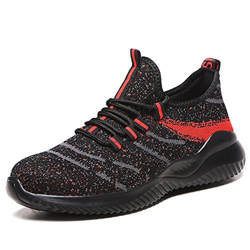 Zapatillas de Seguridad Transpirable Ligero Sneakers Punta de Acero Zapatos de Trabajo Anti-pinchazos Antideslizante Calzado de construcción (Color : Black, Size : 37 EU)