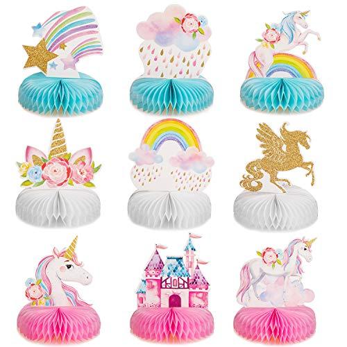 Outus 9 Centros de Mesa con Forma de Panal de Unicornio Arcoíris Topper de Mesa de Panal de Unicornio Brillante para Suministros de Decoración de Fiesta Cumpleaños de Panal de Unicornio ⭐