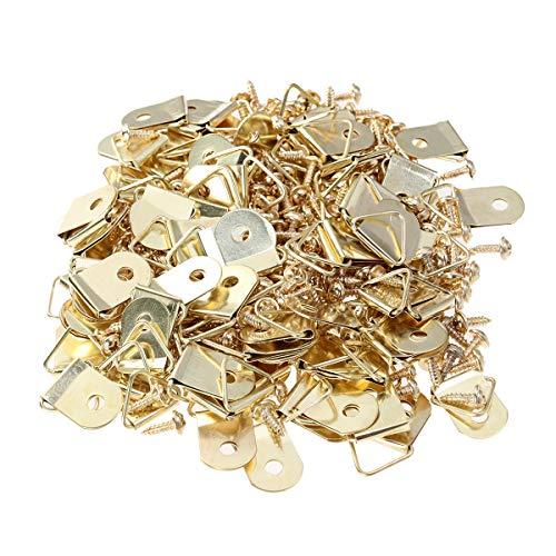 HEALLILY Ganchos para colgar marcos para cuadros Colgadores para 100 piezas con tornillos de 100 piezas para la decoración de montaje en pared
