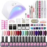 Saint-Acior 20pcs gel unghie Kit semipermanente unghie gel UV 36W Professionale Lampada Bianca USB...