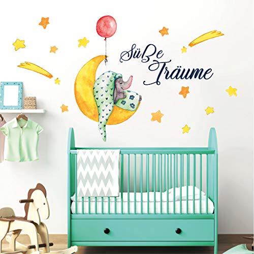 Farbiges Wandtattoo Schlafender Elefant auf Mond mit Luftballon und Spruch / 50 cm x 37 cm