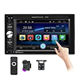 Podofo Double Din Car Stereo Touch Screen 6.2' HD Digital Media Car Audio Receiver Bluetooth/FM Radio/SD/USB/AUX-in/Mic in/DVR in, MP5 Player with Backup Camera