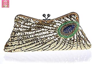 iBag's 2018 Vintage Sequin Party Bag Women Evening Bags Clutch Wedding Bridal Purse Sequins Mini Chain Handbag Peacock Pattern