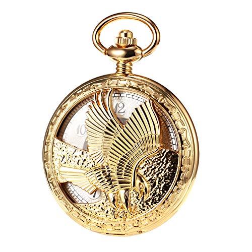 TREEWETO Herren Taschenuhr mit Kette, Retro Adler Analog Steampunk Skelett Uhr, Mechanisch Handaufzug Taschenuhren mit römischen Ziffern für Herren - Gold